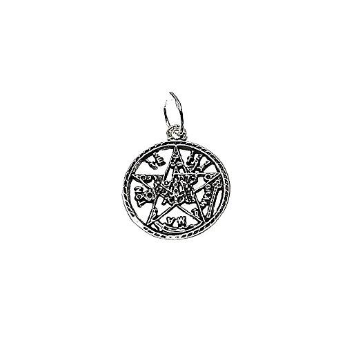 Colgante plata ley 925m 19mm. esotérico Tetragramatón pequeño [AA7837]