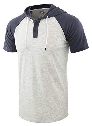 Vetemin - Camiseta de Manga Corta para Hombre, diseño de Henley - - Small