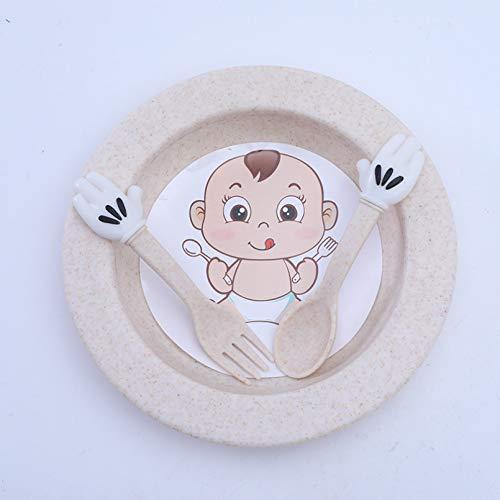DMAIP 3 Piezas/Vajilla para Bebés Múltiples, Paja De Trigo, Cuchara De Dibujos Animados para Niños, Tenedor, Bandeja para Cubiertos, Juego De Alimentos Suplementarios para Bebés