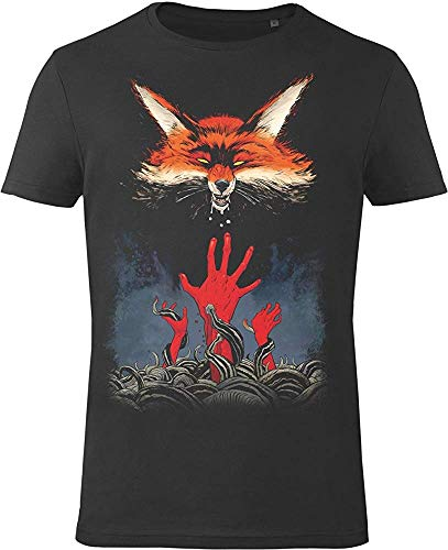 hkvbukhnkgf Gozoo Witcher T-Shirt Men Fox 100% Cotton Black(Size:L