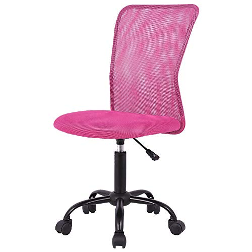 Simple Office Chairs Ergonomic Small Cute Mesh Office Chair, Armless Lumbar Support for Home Office Chair, Cheap Chic Modern Desk PC Chair Pink, Mid Back Adjustable Swivel