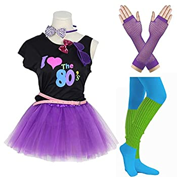 Gilrs 80s Costume Accessories Fancy Outfit Dress for 1980s Theme Party Supplies  14-16 Years Purple