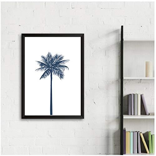 Marineblauwe palmboom canvas schilderij muur kunst affiches en afdrukken Scandinavische foto's voor kinderen woonkamer keuken huisdecoratie -50x70cm(geen frame)