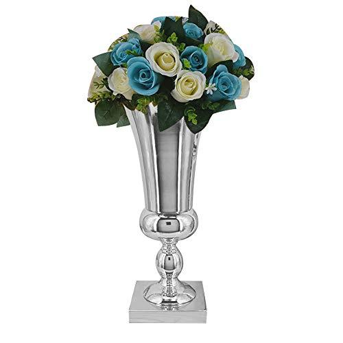 WEIHUIMEI 43cm große Silberne Eisen Blumenvase Urne Hochzeit Tischdekoration für Hochzeit Home Tischdekoration Silber