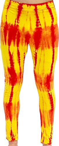Costume Agent Red and Yellow Tie-Dye Wrestling Legging Tights Pants (Adult XX-Large)