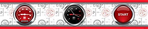 1art1 Cars - Red Racing Cockpit Bordüre Tapeten-Borte Selbstklebend 500 x 10 cm