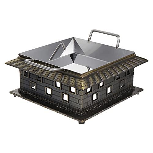 Hemoton Estufa de camping portátil de metal estufa Wok anillo con cajón portátil cocina estufa para cocina al aire libre camping cocina parrilla plata 24 cm