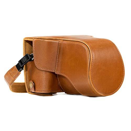 MegaGear MG983 Ever Ready - Étui de Protection en Cuir avec Bandoulière Compatible avec Fujifilm X-T30, X-T20, X-T10 (16-50mm / 18-55mm Lenses) - Marron Clair