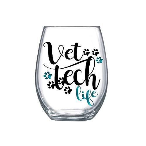 Vet Tech Life Stemless Wine Glass Vet Technician Gifts for Women 0013
