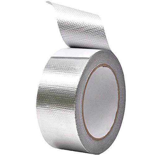 Glasfaser Aluminiumfolie Klebeband 5CM x 25M, DINGJIE Kanal-Isolierband Hochtemperatur Heavy Duty Metal Tape Verstärktes Aluminium-Folienband Wasserdichtes Klebeband Thermoshield Hitzeschutzband