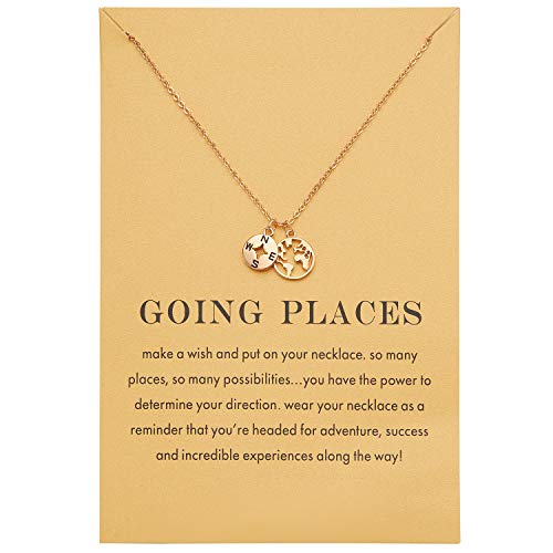 Zealmer Dainty Yellow Gold Plated Compass World Map Pendant Necklace Graduation Gift for Friends