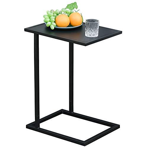 HOMCOM Table Basse Table d'appoint guéridon Bout de canapé intérieur extérieur métal époxy Noir