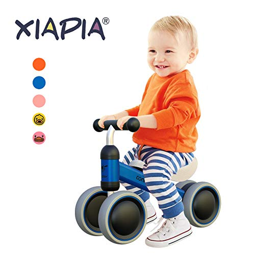 XIAPIA Baby Balance Bikes Bicycle Children Walker for 10 - 24 Month, Ride On Toys for 1 Year Old Boys Girls, No Pedal Infant 4 Wheels, Toddler Top First Birthday Gift (Blue)