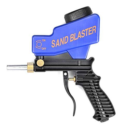 Tragbare Schwerkraft-Sandstrahlpistole Pneumatisches Sandstrahl-Set Roststrahlgerät Kleine Sandstrahlmaschine Sandstrahler - Blau
