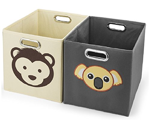 Avinee Foldable Fabric Storage Cube Basket Bins Boxes Closet Organizer with Built-in Chrome Handles, Set of 2