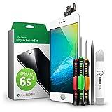 GIGA Fixxoo Kit Completo de Reemplazo de Pantalla iPhone 6s Plus LCD Blanco; con Touchscreen, Cristal Retina Display, cámara y Sensor de proximidad - Fácil instalación y reparación guiada DIY