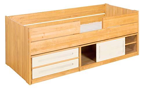 BioKinder Lina stapelbed functioneel bed commode met schuifdeur, 2 lades en valbescherming kort gemaakt van massief hout elzen en grenen 90 x 200 cm, voorkant wit geglazuurd