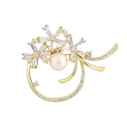 YXFYXF Brosche Trendy Zirkon Eingelegtes Kranz mit Perlenbrosche Elegante und Exquisite Brosche für Frauen Hochzeitskostüm Schmuck (Color : YZ-B20010301-G)
