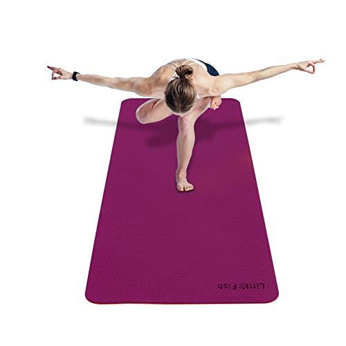 Yoga Mats for Women Home Exercise Fitness GYM Mat 72quotX24quotX024quot NonSlip TPE Workout Mat for Yoga Pilates Exercises SweatProof Purple