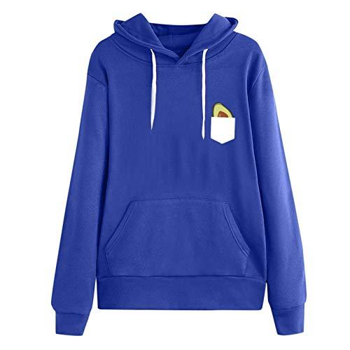 Jersey Suéter Sweater Sudadera Mujer Manga Larga Estampado Casual Pullover con Capucha Tops con Capucha Streetwear 5XL Azul