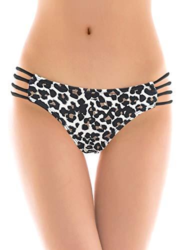 SHEKINI Donna Brasiliano Bikini Perizoma Nuoto Tronchi Thong Pantaloni Costumi Da Bagno Tanga Da Donne Vita Bassa Cutout Bikini Fondo Da Spiaggia(XS, Rosso)
