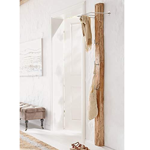 Pureday Wandgarderobe Woody - Garderobe - Teak-Holz Metall - Natur Silber