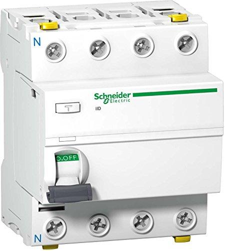 Schneider A9Z21425 Interruptor diferencial iID, 4P, 25A, 30 mA, Tipo A