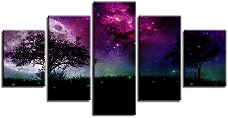 mejor reputación YUGUO 5 Lienzos Decoración Moderna Habitación Impresión HD HD HD Imagen 5 Piezas árboles Luna Resumen Bosque Vista Nocturna Cartel De Arte De La Parojo Modular Lienzo De Pintura  gran selección y entrega rápida