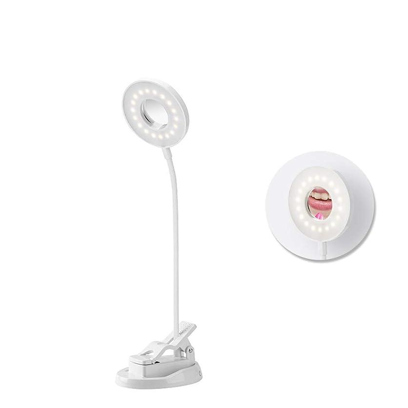カーフクラフトうんざり化粧鏡 LED付き女優ミラー 卓上スタンド タッチスイッチ調光可 360度回転LEDデスクライト