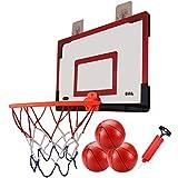 LXLA Canasta Baloncesto Juego de Aro de Baloncesto Portátil sobre La Puerta con 3 Bolas y Bomba - Regalo Ideal para Cumpleaños o Navidad (Negro Rojo)