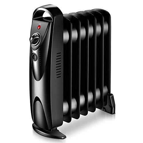 GWYJ Mini radiador Lleno de Aceite, 700 W, 405 × 115 × 445 mm, Calentador eléctrico portátil, diseño liviano, termostato, Corte de Seguridad térmica, para Espacios pequeños, Negro