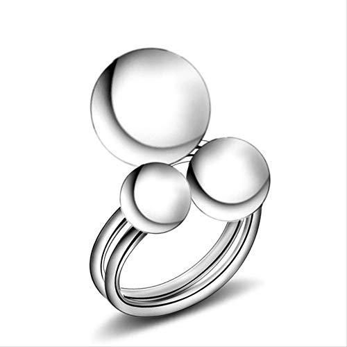 IWINO mode zilveren ringen voor vrouwen Koreaanse elegante vrouwen mooie meisjes gesimuleerde parel verstelbare ringen met metalen ballen