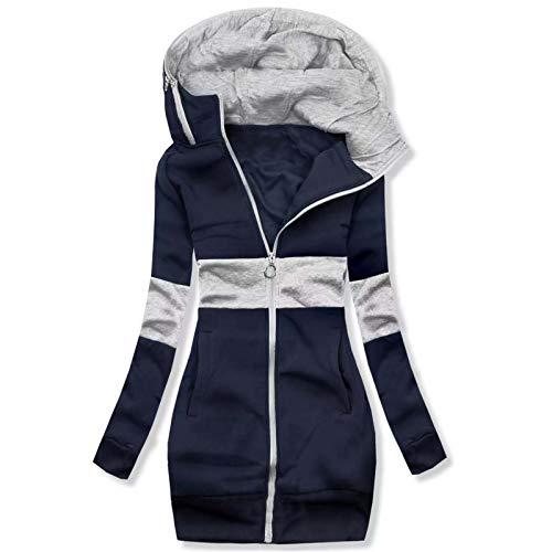 Women's Full Zip Hoodie Long Sleeve Casual Long Sweatshirts Solid Hooded Jacket with Pockets by Vanankni
