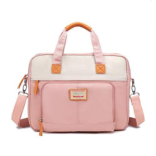 ZH Laptop Backpack Convertile Briefcase Shoulder Bag Multi-Functional Messenger Bag Handbag Fits 15.6 Inches Laptop for Men/Women/Work (Black,Pink