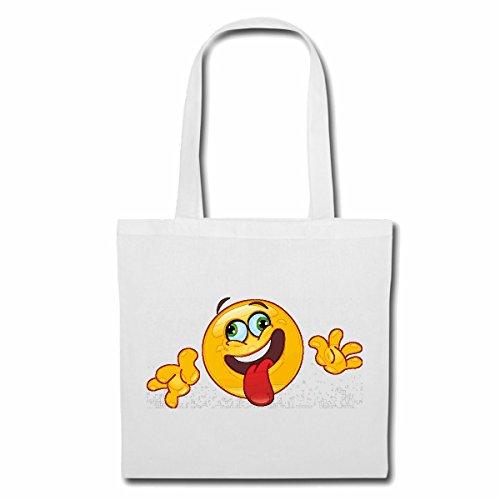 Reifen-Markt Tasche Umhängetasche LACHENDER SMILEY STRECKT DIE ZUNGE RAUS SMILEYS SMILIES ANDROID IPHONE EMOTICONS IOS GRINSEGESICHT EMOTICON APP Einkaufstasche Schulbeutel Turnbeutel in Weiß