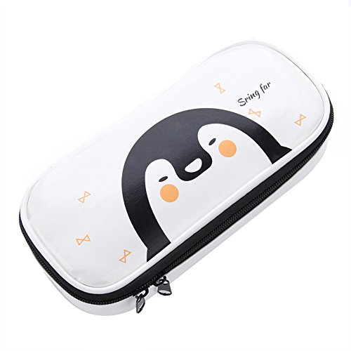 Office Students Pencil Case Super Large Multifunction White Penguin Pencil Pen Bag for Stationery Accessories, Cosmetics, Documents, Daily Essentials,White ¡­