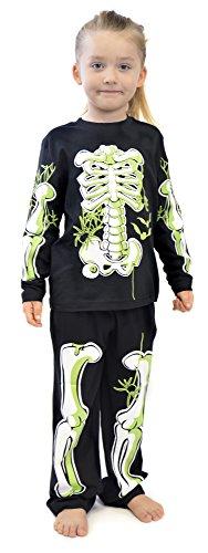 Boys Girls Skeleton Glow In The Dark Cotton Pyjamas Ages 3-12 Years (9-10 Years)