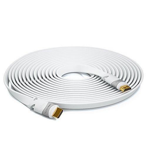 deleyCON 5m Flaches HDMI Kabel - Kompatibel zu HDMI 2.0 bis 1.4 - UHD 4K HDR 3D 1080p 2160p ARC - High Speed mit Ethernet - Weiß