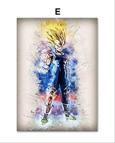 DPFRY Leinwand Malerei Dragon Ball Super Sohn Goku Vegeta Beerus Whis Majin Buu Anime Poster Und Drucke Wandkunst Wandbilder Dekor 40X60 cm Xn46Y Rahmenlose