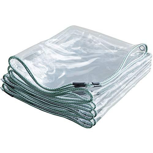 Lona Impermeable Transparente con Ojales 400g / m², Lona de Plástico de PVC para Casa Jardín Externo, 0,3 mm de Espesor (2x3m)
