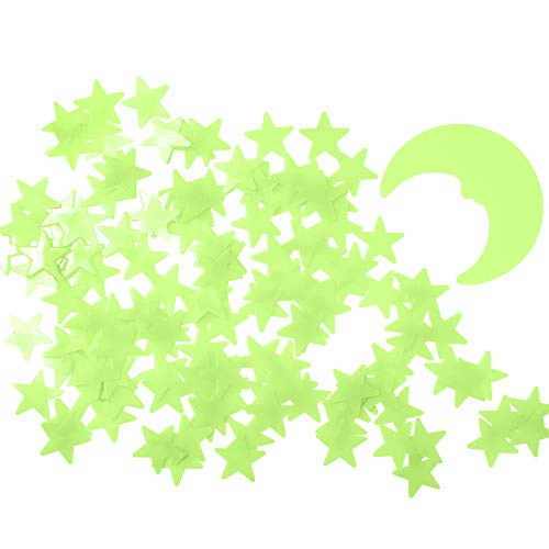 Glow in The Dark Stars,Stars Stickers for Ceiling,Adhesive 200 Pcs 3D Glowing Stars and Moon for...