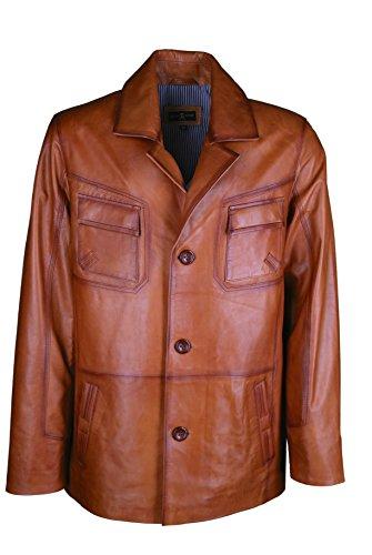Giorgio Capone lederen jas, fijnste lamsleer, cognac-bruin, 48, 50, 52, 54, 56, 58, 60, 62, 64, 66, grote maten en onderzette maten mogelijk