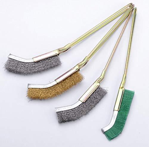YONIK ワイヤーブラシ サビ取り 4本 先曲り ハンディーブラシ ナイロンブラシ 真鍮 ステンレスブラシ (先曲がり)