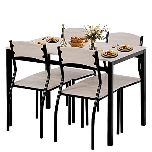 5 Pieces Dining Table and Chair Set for 4, Kitchen Table and Chairs Set, Wood Kitchen Furniture Breakfast Table Set With 4 Chairs For Compact Dining Living Room& Kitchen&Home