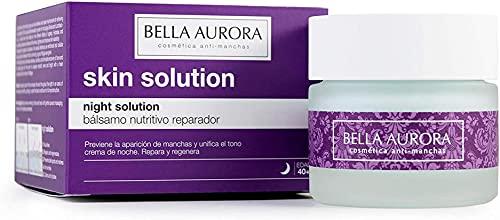 Bella Aurora Crema de Noche Nutritiva Anti-Fatiga Mujer 40+ Años, 50 ml | Anti-Arrugas | Anti-Edad | Anti-Manchas | Tratamiento Facial Hidratante | Night Solution