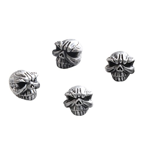 Almencla 4 Stück Ventilkappen Totenkopf Reifen Ventilkappen Schädel Autozubehör Universal Ventil Kappen für Auto SUV PKW Motorrad Fahrrad - Silber