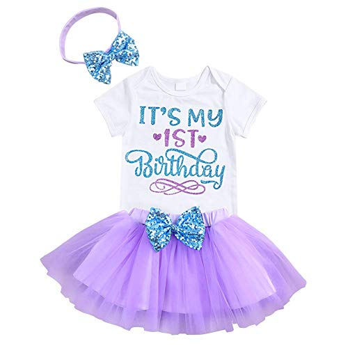 Newborn Baby Girls It's My 1St Birthday Infant Outfits, Purple, Size 12 Months
