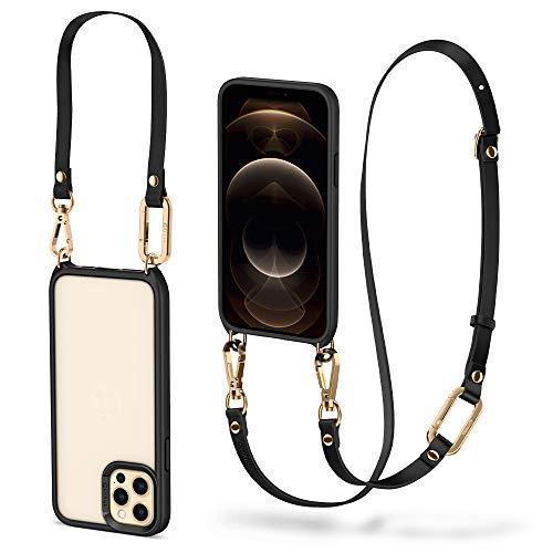 CYRILL Classic Charm Handykette Kompatibel mit iPhone 12 und iPhone 12 Pro mit Band (Kunstleder) Zweiteilige Kette am Körper und am Handgelenk - Schwarz