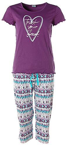 Petite Fleur Damen Capri Pyjama Schlafanzug Trust Your Heart (32-34, Aubergine)