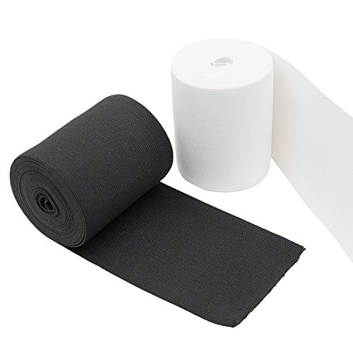 Waycreat 4 Inch 5 Yard White Black Elastic Bands for Sewing Heavy Stretch Strap Roll High Elasticity Spool Knit for Wigs Repair Replacement 2 Rolls